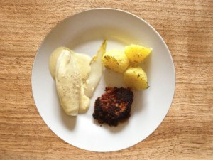 Linsenbratling mit Chicorée und Kartoffeln